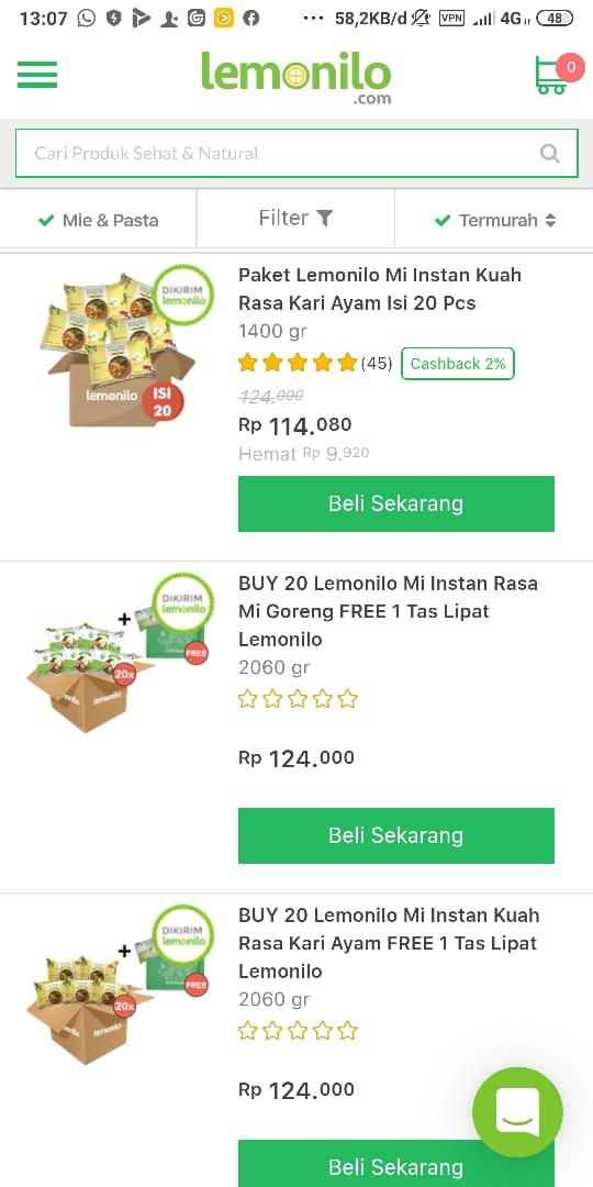 Produk dan berbagai paket yang ditawarkan untuk pembelian mie instan lemonilo pada web resminya