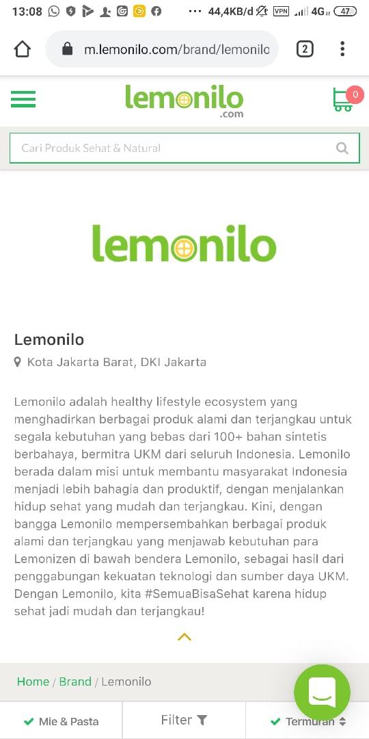Web resmi dan official account media sosial lemonilo